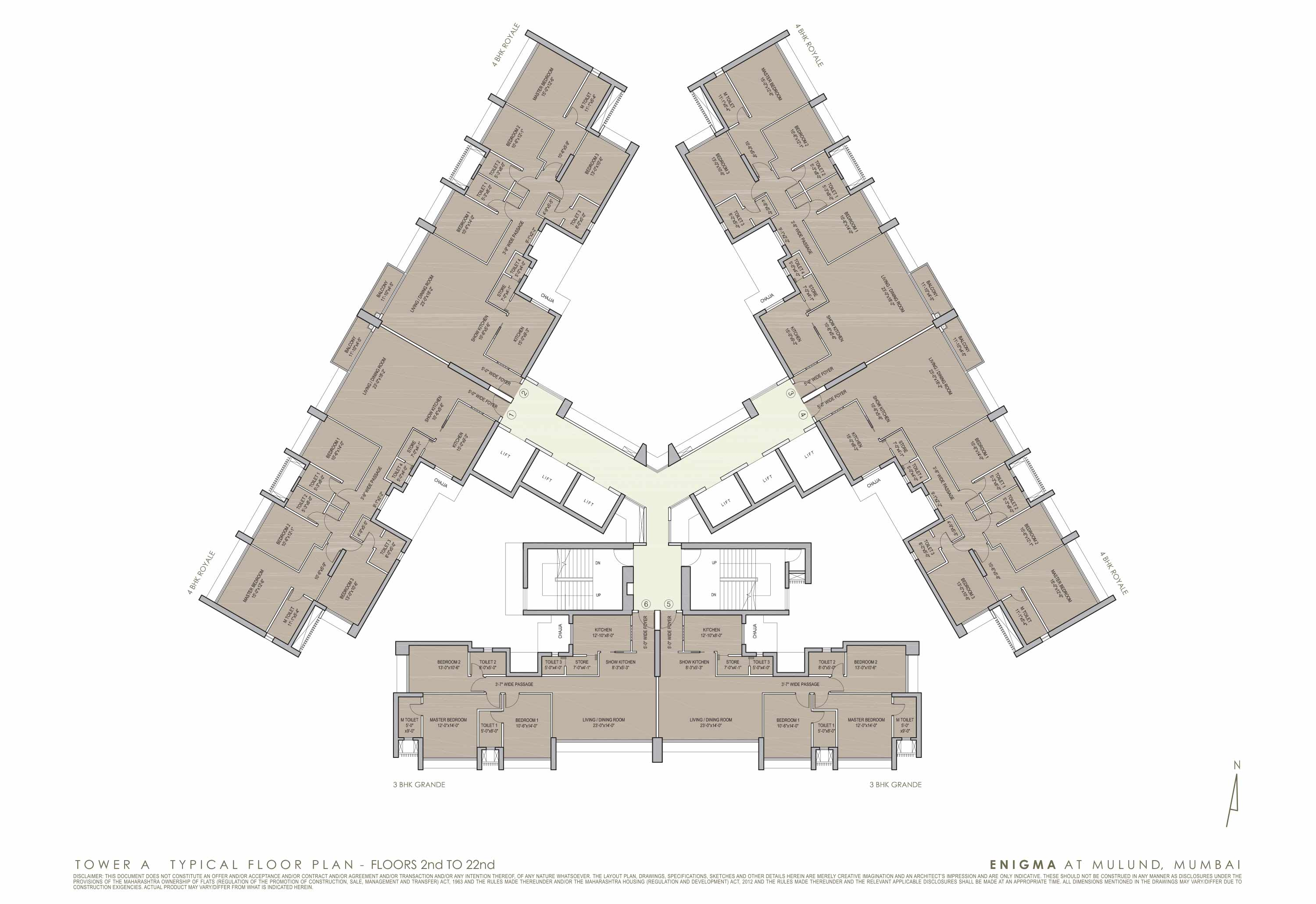 3 Bhk 4 Apartments In Mulund West Eternia And Enigma The Floor Plan At Right Is Only Part Of An Ongoing Electrical Project Luxury Flat Lbs Road W Floorplan 1